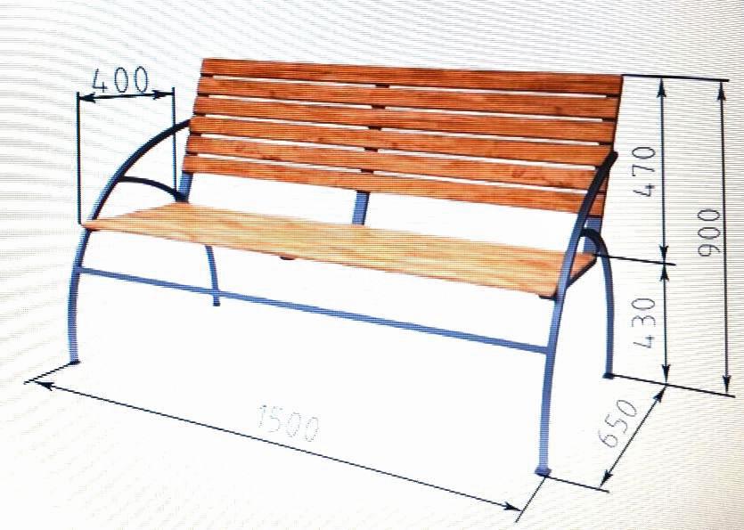 Скамейка своими руками из металла и дерева фото чертежи 92
